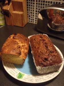 Apricot and orange brack on left; traditional Irish brack on right