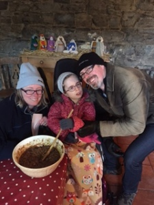 Stirring the Christmas pudding at Causey Farm